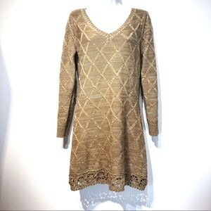Anthropologie nick & mo brown crochet sweater M
